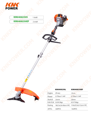 KM0408250S 25.4CC GASOLINE BRUSH CUTTER & GRASS TRIMMER 1 SHAFT WITH SINGLE HANDLE Engine:25.4cc Power:0.75kw 1.1HP Shaft Ф:26mm 1 SHAFT