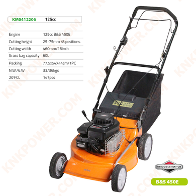 KM0412206 125CC LAWN MOWER Engine:125cc B&S 450E Cutting height:25-75mm 8 positions Cutting width:460mm 18inch Grass bag capacity:60L