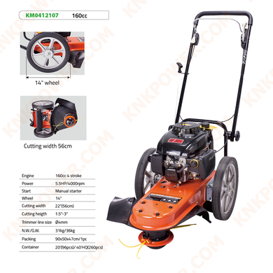 KM0412107 160CC LAWN MOWER Engine: 160CC 4 Stroke Power: 5.5HP 4000RPM Start: Manual starter Wheel: 14