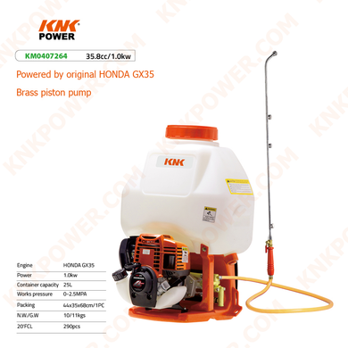 KM0407264 25.4CC LIQUID SPRAYER Engine:Mitsbishi TU26 Power:0.8kw Container capacity:25L Works pressure:0-2.5MPA Packing:44x35x68cm 1PC N.W. G.W.:10 11kgs 20'FCL:290PCS