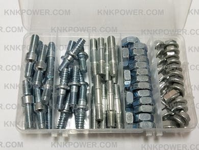 37.4K-01 CHAINSAW BRAKER NUT KIT MS180 Double End Threaded Stud Ø8MM*39 10pcs MS381 Double End Threaded Stud Ø8MM*45 10pcs 52cc Chain saw Double End Threaded Stud Ø8MM*42 10pcs MS180 381 nut M8*1.0MM 17pcs 52cc Chain saw nut M8*1.0 MM 20pcs