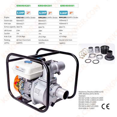 KM0404201 5.5HP WATER PUMP Engine:KMG170(5.5HP)4 Stroke Outlet size:50mm(2