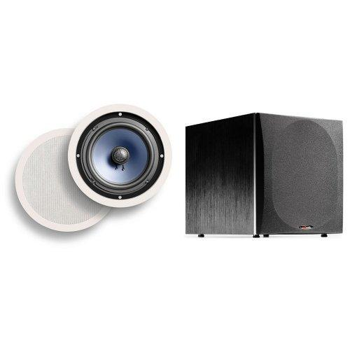 Polk Audio RC80i 8-inch Premium 2-way In-ceiling Speakers | PLUS PSW505 12-inch Powered Subwoofer | Upgrade your Home Theater Now!