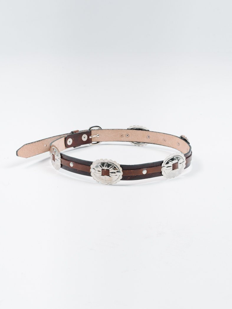 Brown Leather Buckle Concho Belt