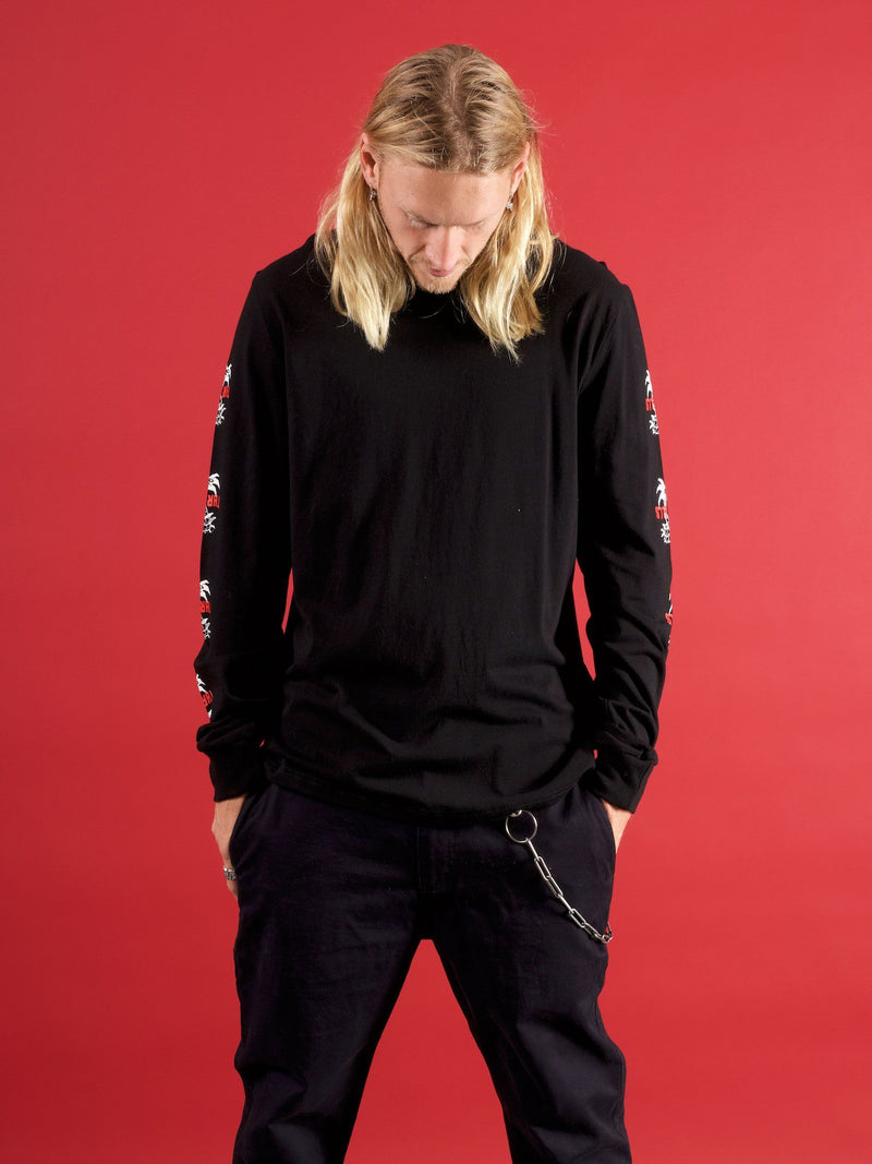 Dixon Palm Long Sleeve Tshirt - Black