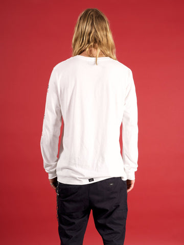 Dixon Palm Long Sleeve Tshirt - White
