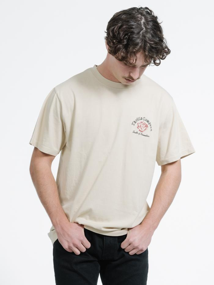 Rose Paradise Merch Fit Tee - Thrift White