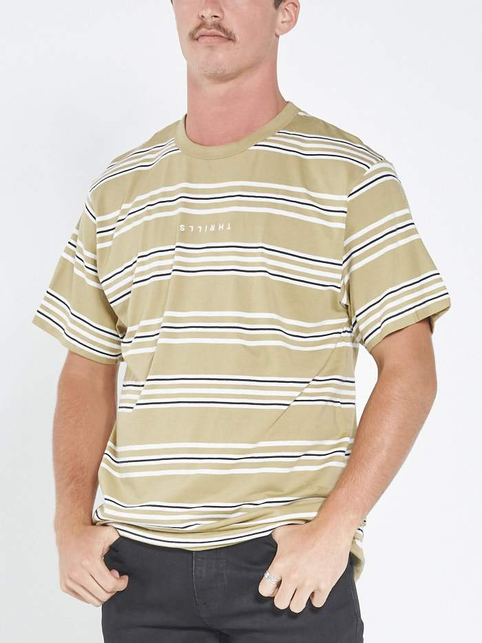 Minimal Thrills Stripe Merch Fit Tee - Faded Gold