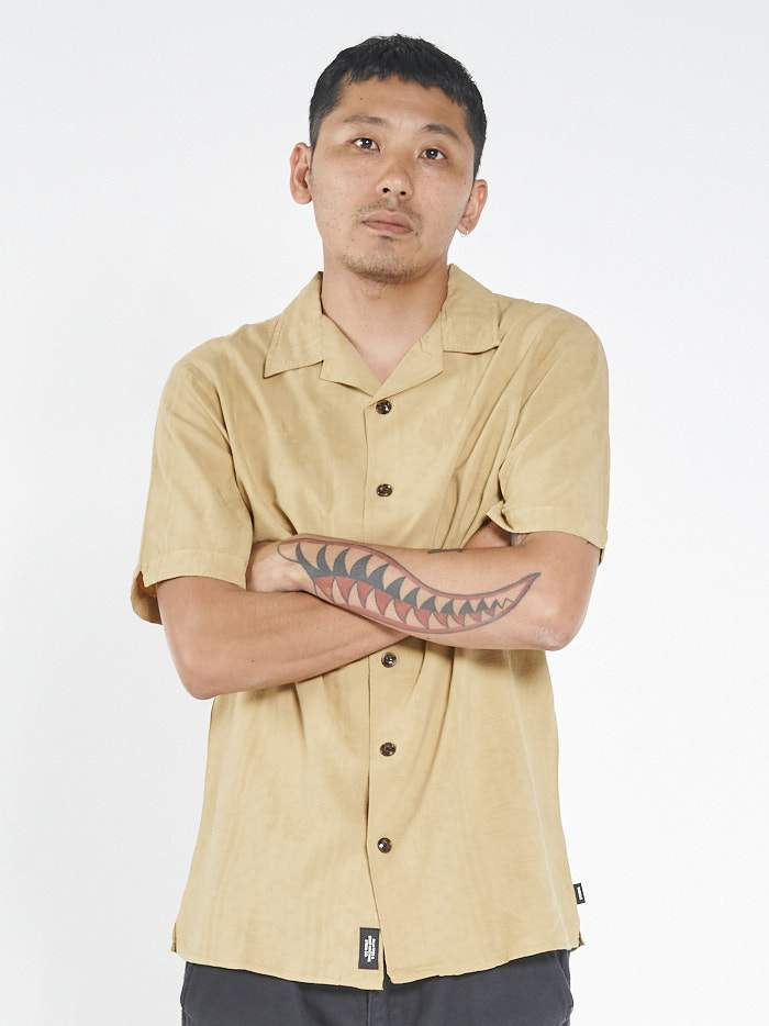 Hidden Paradise  Bowling Shirt - Incense