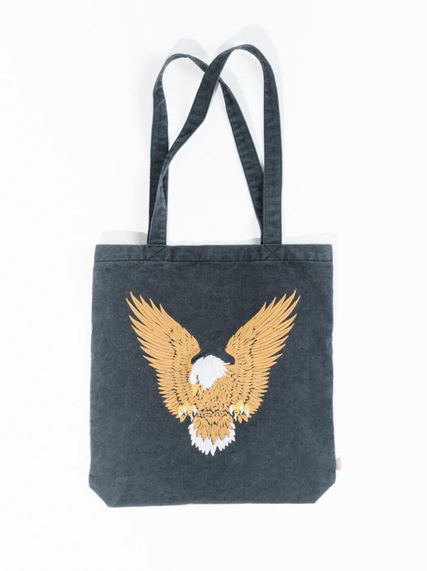 Landing Eagle Denim Tote - Faded Black
