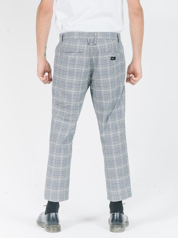 London Chopped Chino - Grey/Navy Plaid