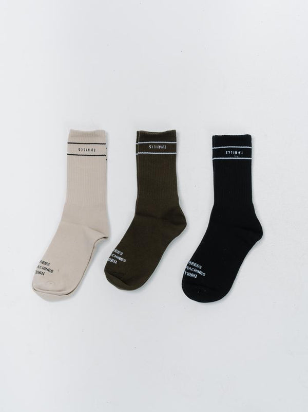 Minimal Thrills Sock 3 Pack - Army Green/Black/Thrift White