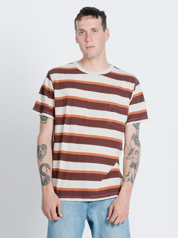Rancho Stripe Merch Fit Pocket Tee - Natural