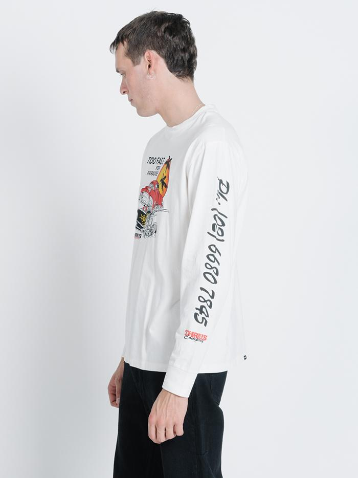 Too Fast Merch Fit Long Sleeve Tee - Dirty White