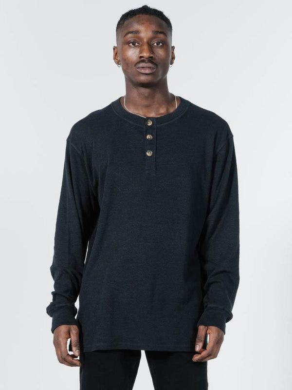 Division Long Sleeve Henley - Black