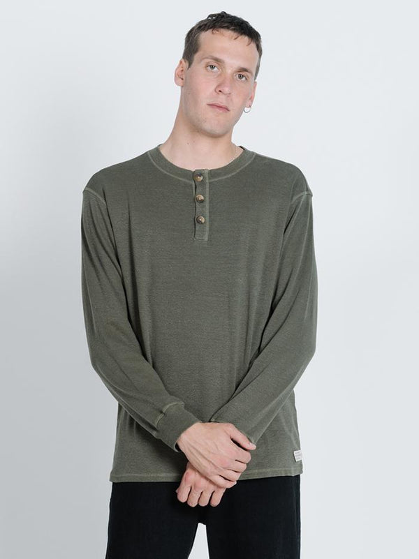 Division Long Sleeve Henley - Dark Olive