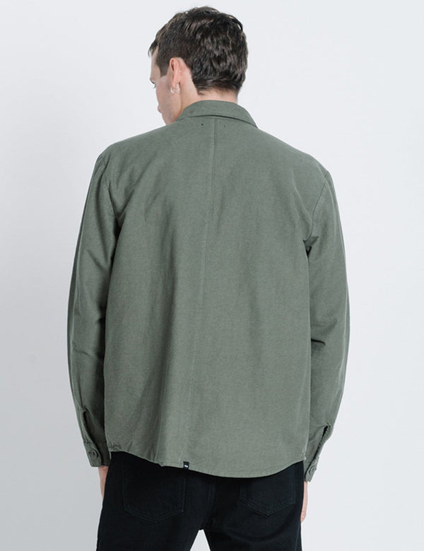 Division Oversize Long Sleeve Shirt - Dark Olive