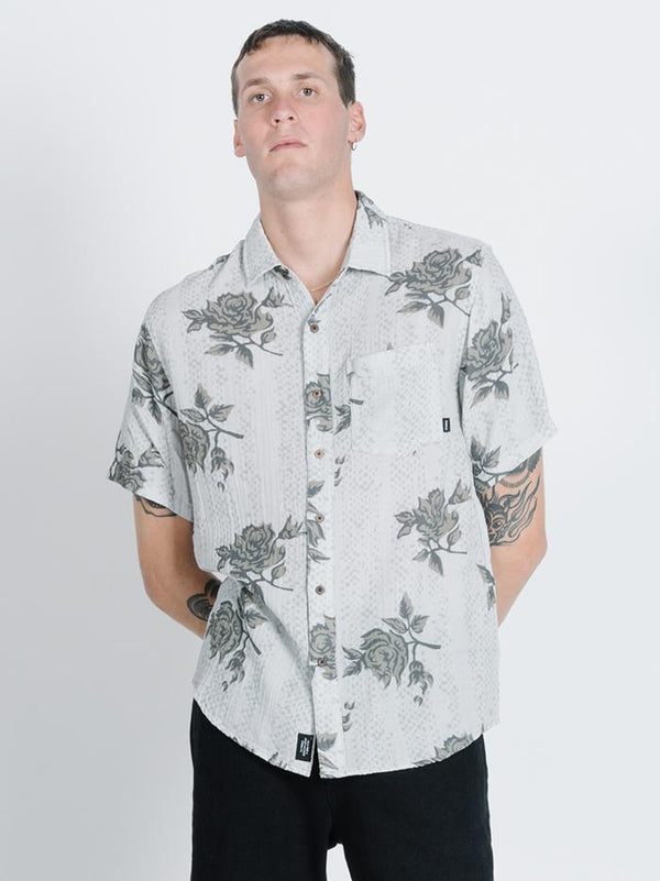 Paradise In Ruins Short Sleeve Shirt -  Light Grey