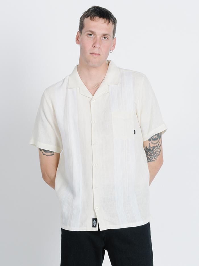 Born In Paradise Bowling Shirt - Thrift White