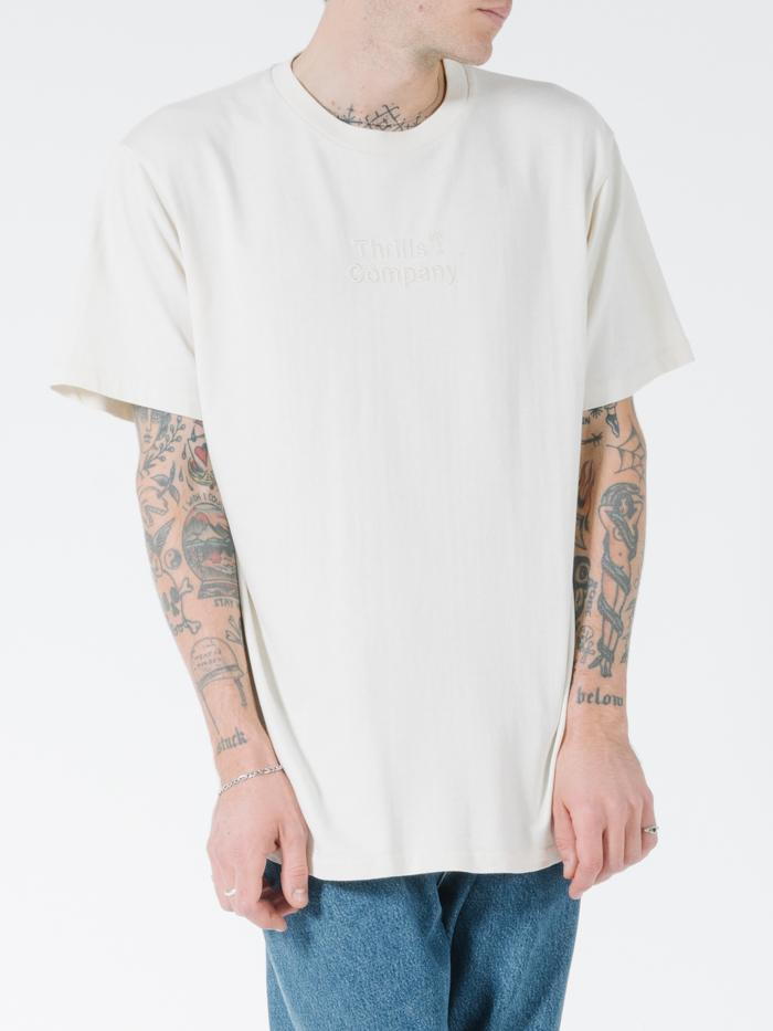 Tonal Stacked Thrills Company Merch Fit Tee - Unbleached