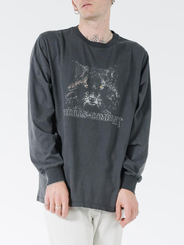 Shades Of Wolf Merch Fit Long Sleeve Tee - Vintage Black