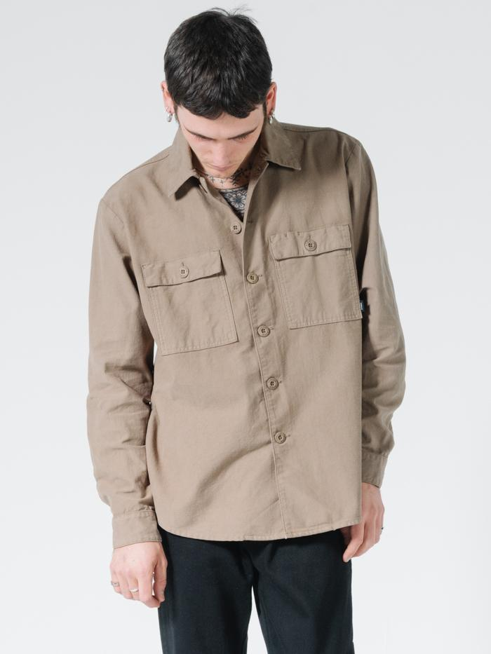 Liste Oversize Long Sleeve Shirt - Desert