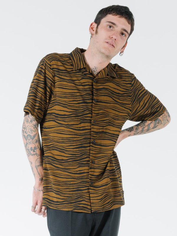Disrupted Paradise Bowling Shirt - Palm Bronze