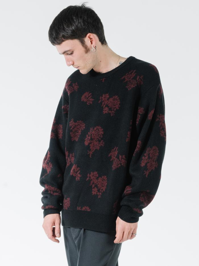 Hidden Paradise Crew Knit - Black Blood Red