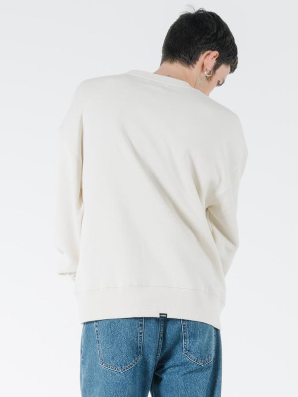 Tonal Stacked Thrills Company Slouch Fit Crew - Unbleached
