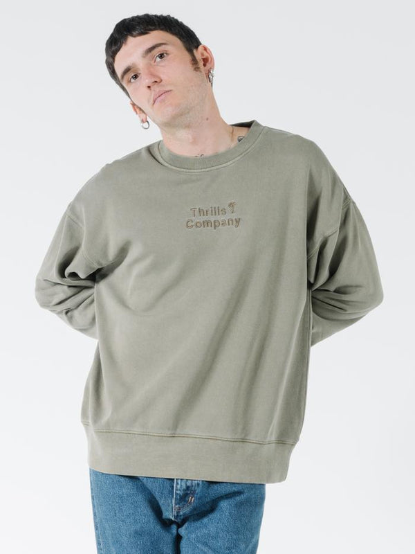 Tonal Stacked Thrills Company Slouch Fit Crew - Desert