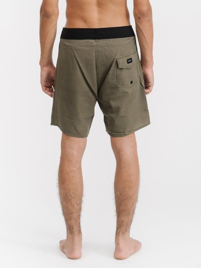 Outline Logo Boardshort - Army Green