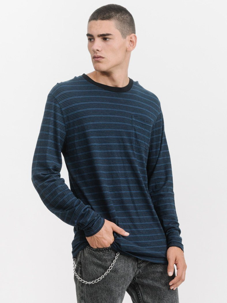 Midnight Hemp Stripe Long Sleeve Tee - Midnight Stripe