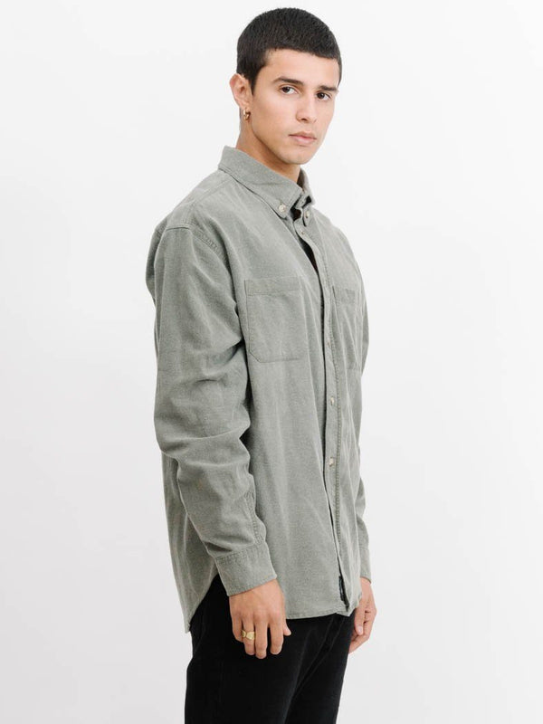 Courier Oversized Long Sleeve Shirt -  Army Green