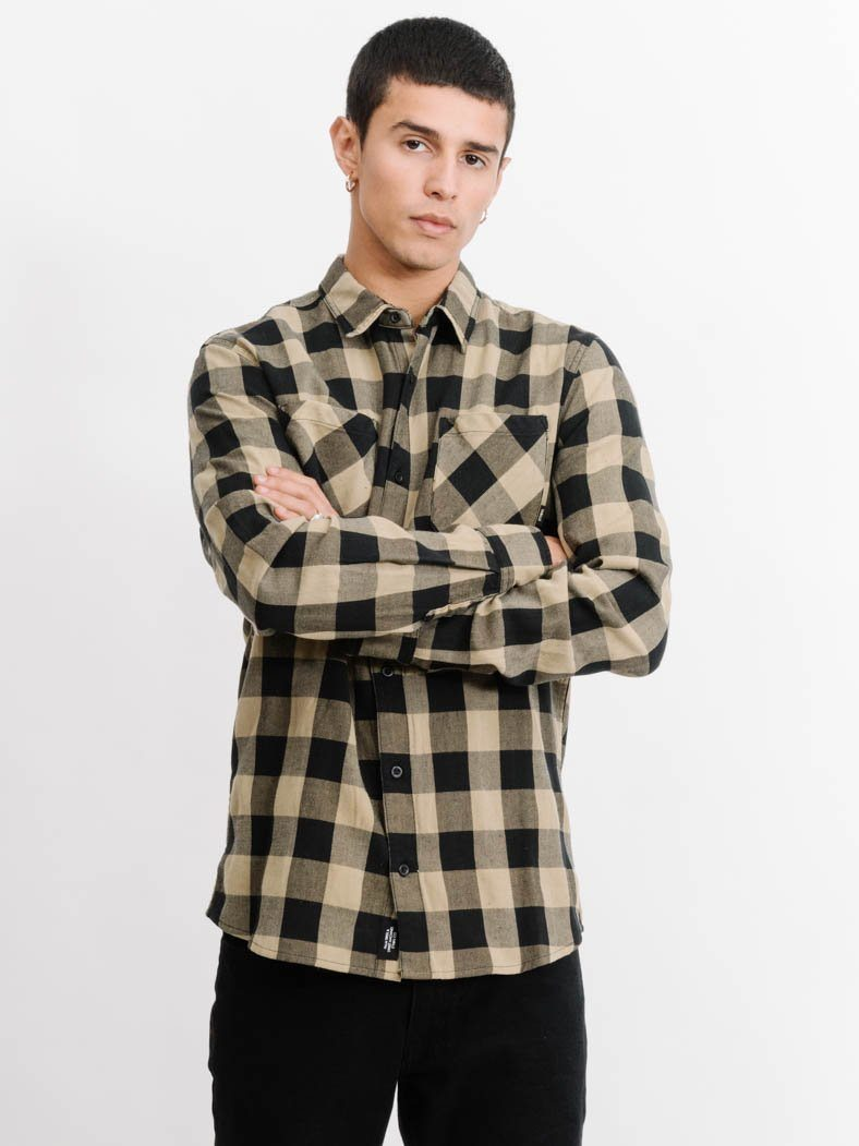 Overdyed Sesame Check Long Sleeve Shirt -  Overdyed Sesame Check