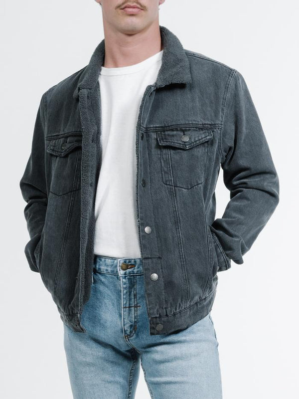 Sherpa Wanderer Denim Jacket -  Wasted Black