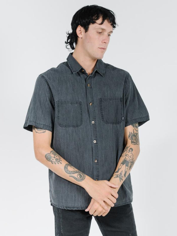 Pocket Canyon Short Sleeve Shirt -  Wasted Black