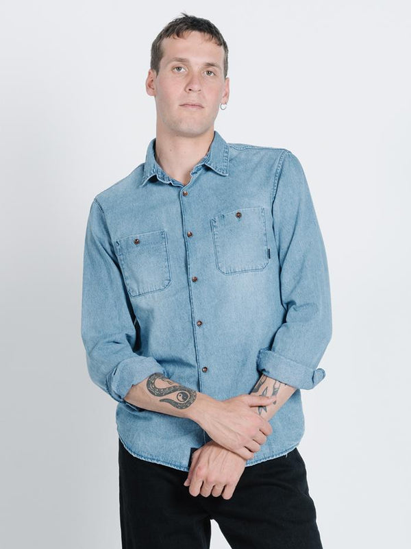 Pocket Canyon Long Sleeve Shirt - Trucker Blue