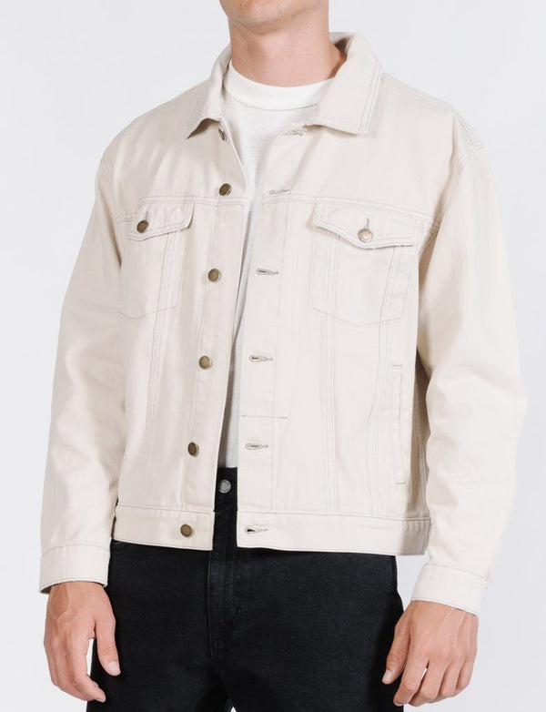 Oversized Wanderer Denim Jacket - Dirty White