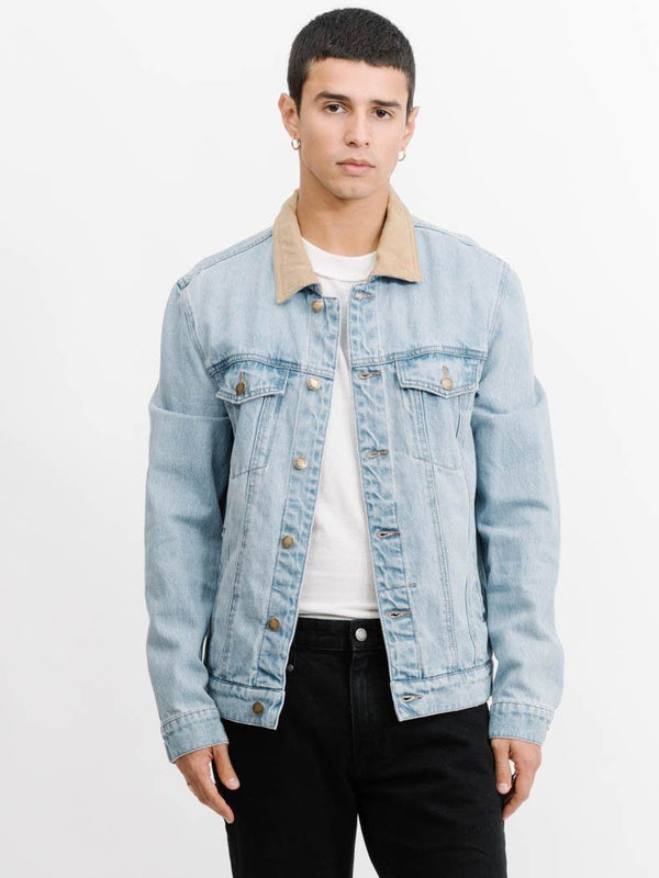 Wanderer Denim Jacket Cord Collar -  Stoned Blue