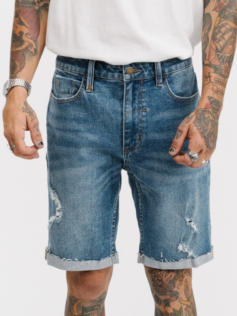 Destroyed Bones Denim Short -  Vintage Blue