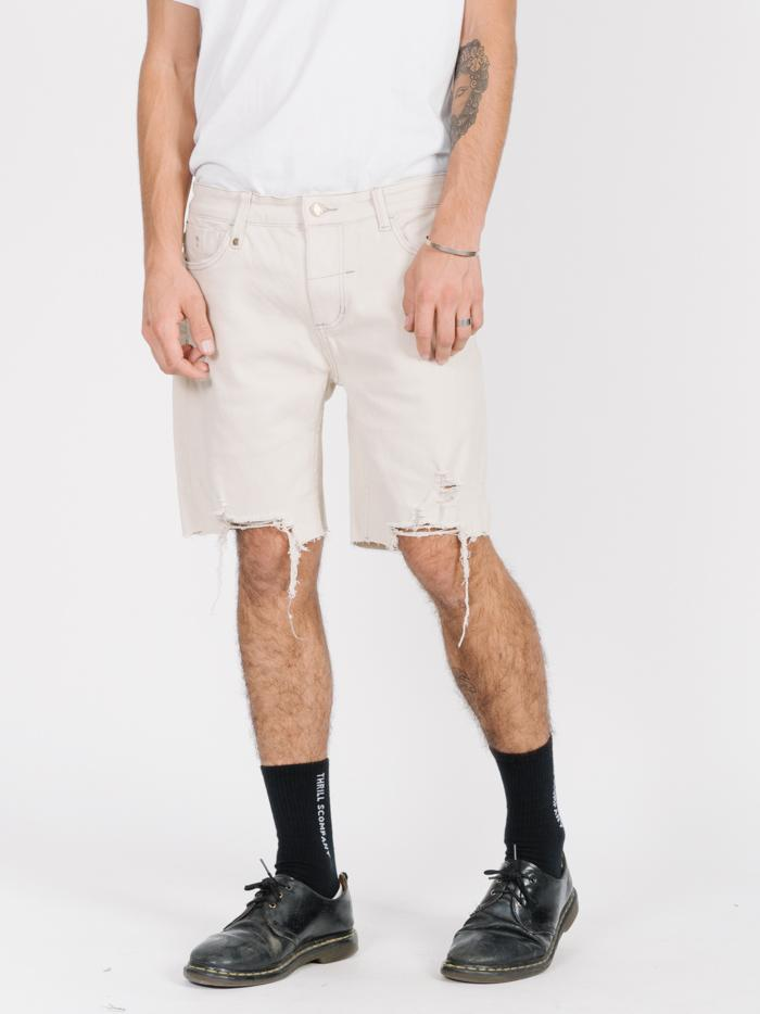Destroyed Bones Denim Short - Dirty White