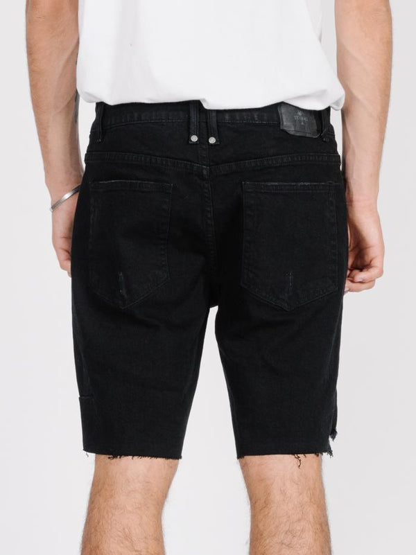 Destroyed Bones Denim Short -  Black