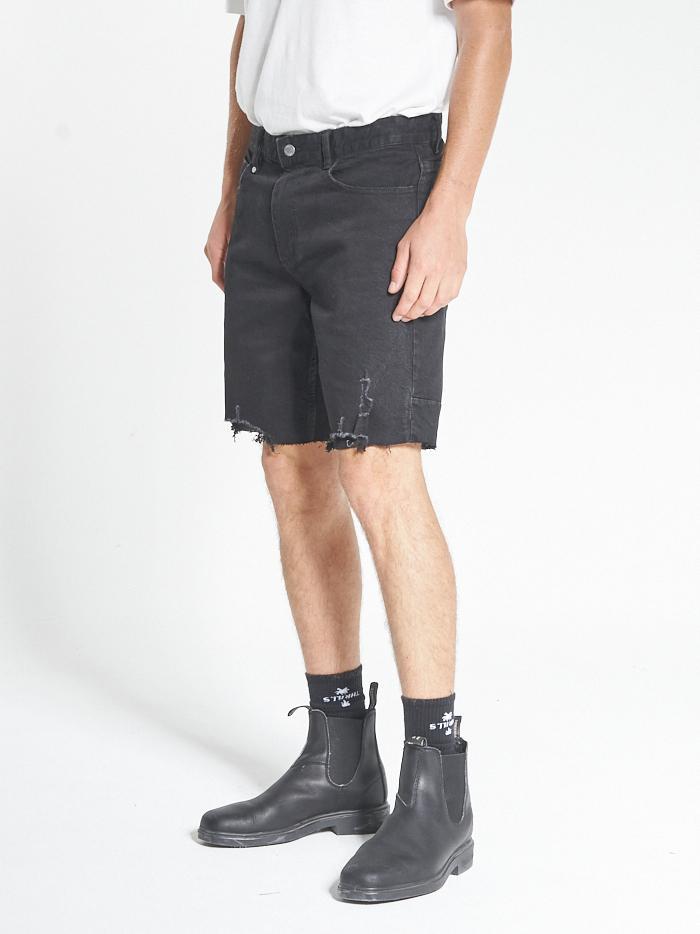 Destroyed Bones Denim Short - Black Rinse