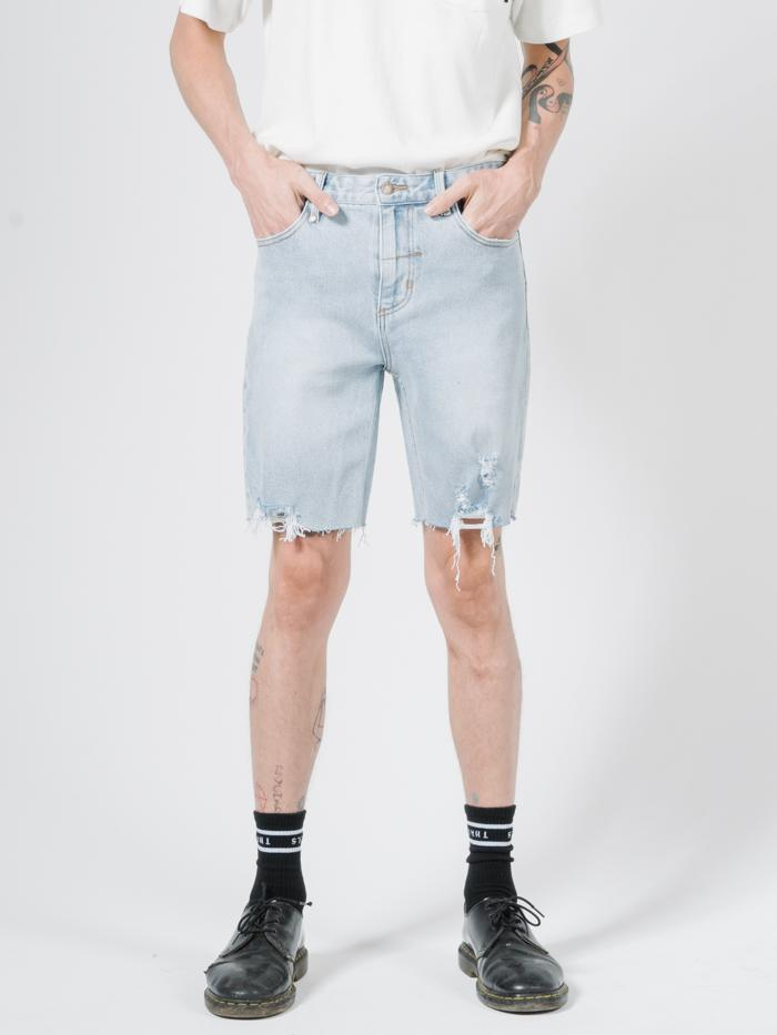 Destroyed Bones Denim Short - Time Worn Blue