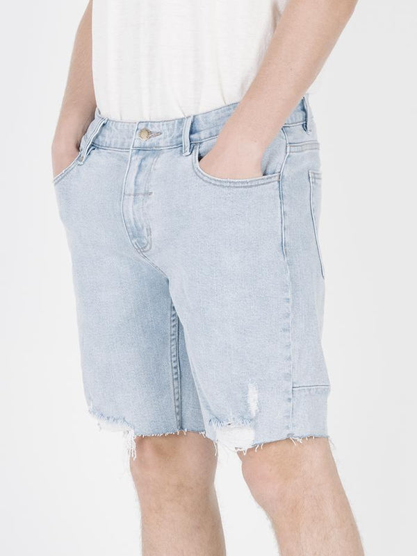 Destroyed Bones Denim Short - Wasted Blue