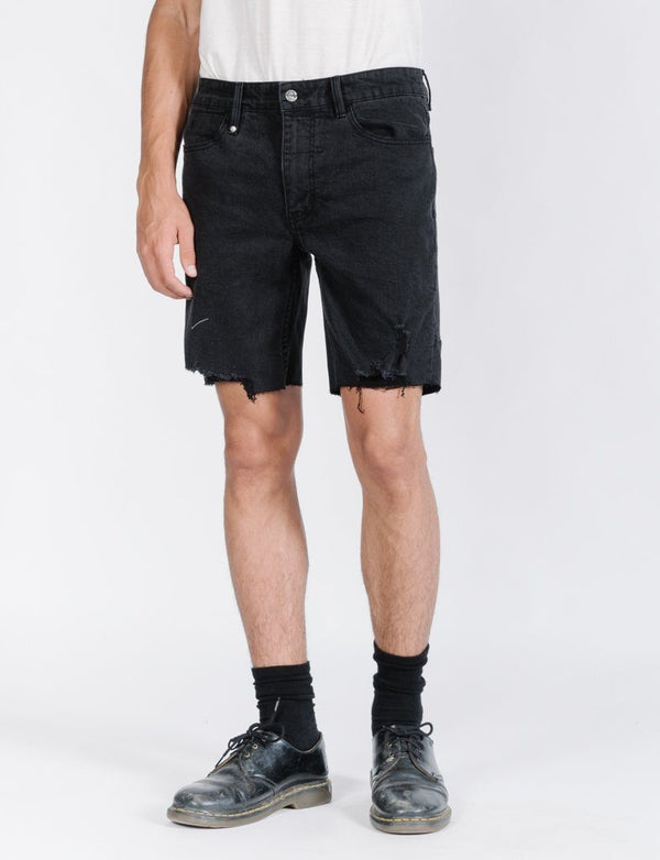 Destroyed Bones Denim Short - Faded Black
