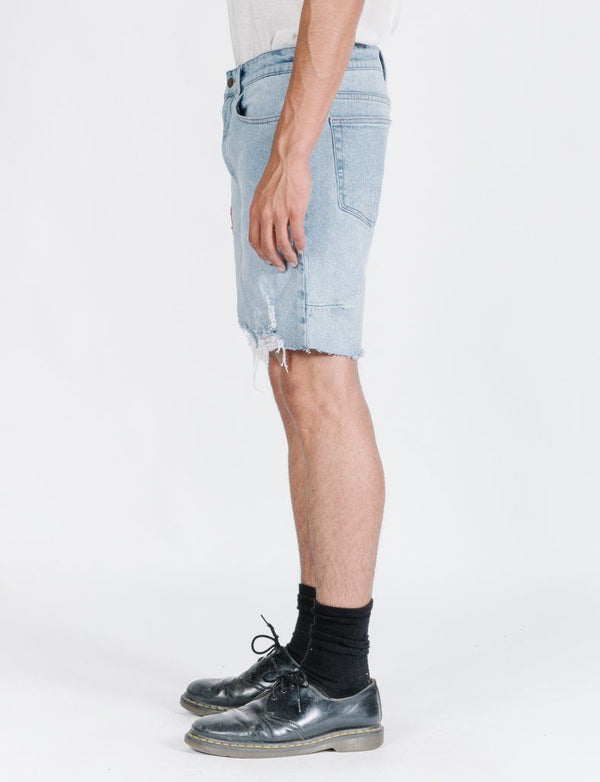 Destroyed Bones Denim Short - Light Thrift Blue