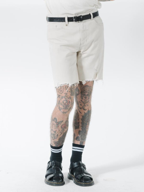 Destroyed Bones Denim Short - Unbleached