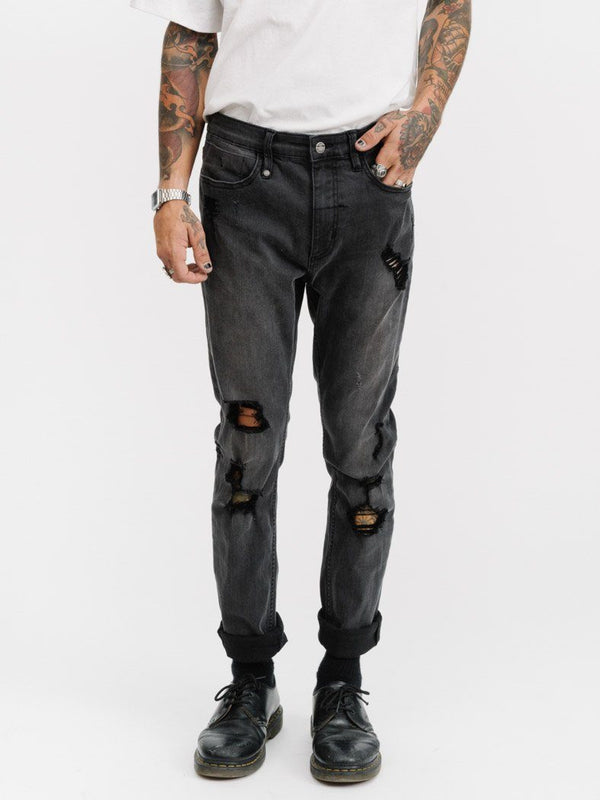 Destroyed Shadow Jean - Vintage Black