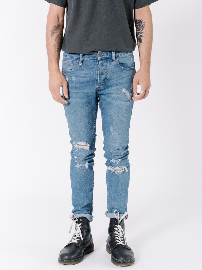 Destroyed Shadow Jean - Vintage Blue
